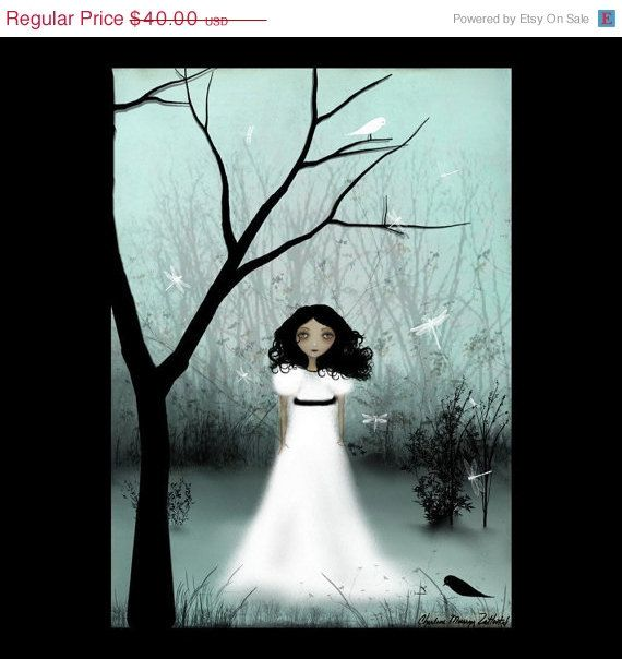 Melancholy Girl Art Print  - I Will Be Your Light - Large Limited Edition of 50. $20.00, via Etsy.