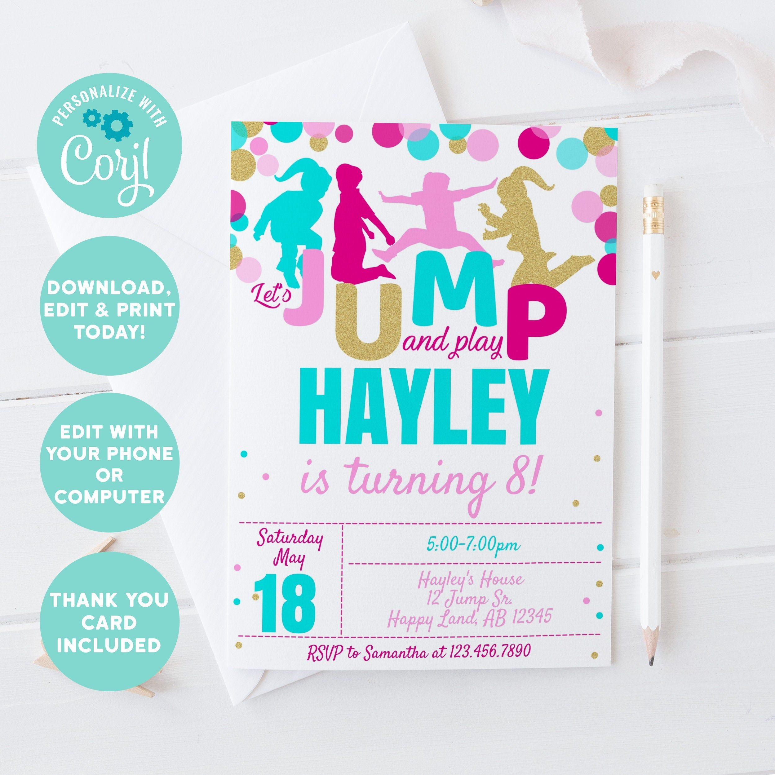 EDITABLE Printable Jump Party Birthday invitation, Trampoline