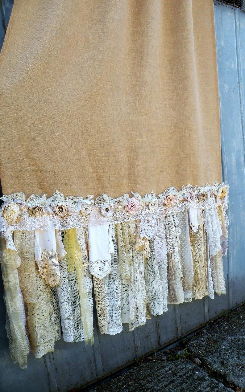 Burlap Vintage Lace Curtains Drapes Panel Boho Made To Order Etsy In 2020 Vintage Lace Curtains Lace Curtains Shabby Chic Curtains