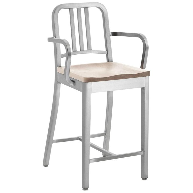 Awesome Emeco Navy Counter Stool With Arms In Brushed Aluminum And Caraccident5 Cool Chair Designs And Ideas Caraccident5Info