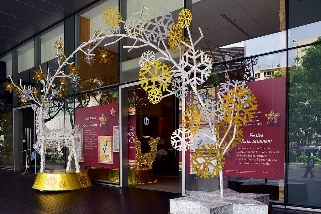 X'mas decoration at entrance in shopping mall Christmas
