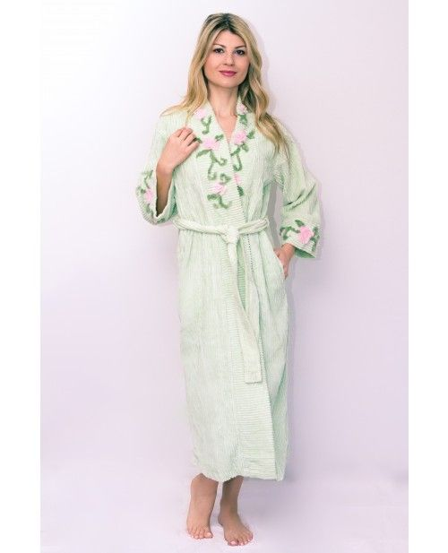 Full Length Cotton Chenille Robe. Lavish hour glass tie-up Chenille Bathrobe  with design and plain smooth texture along collar and cuffs with overlay ... f3bc75b79