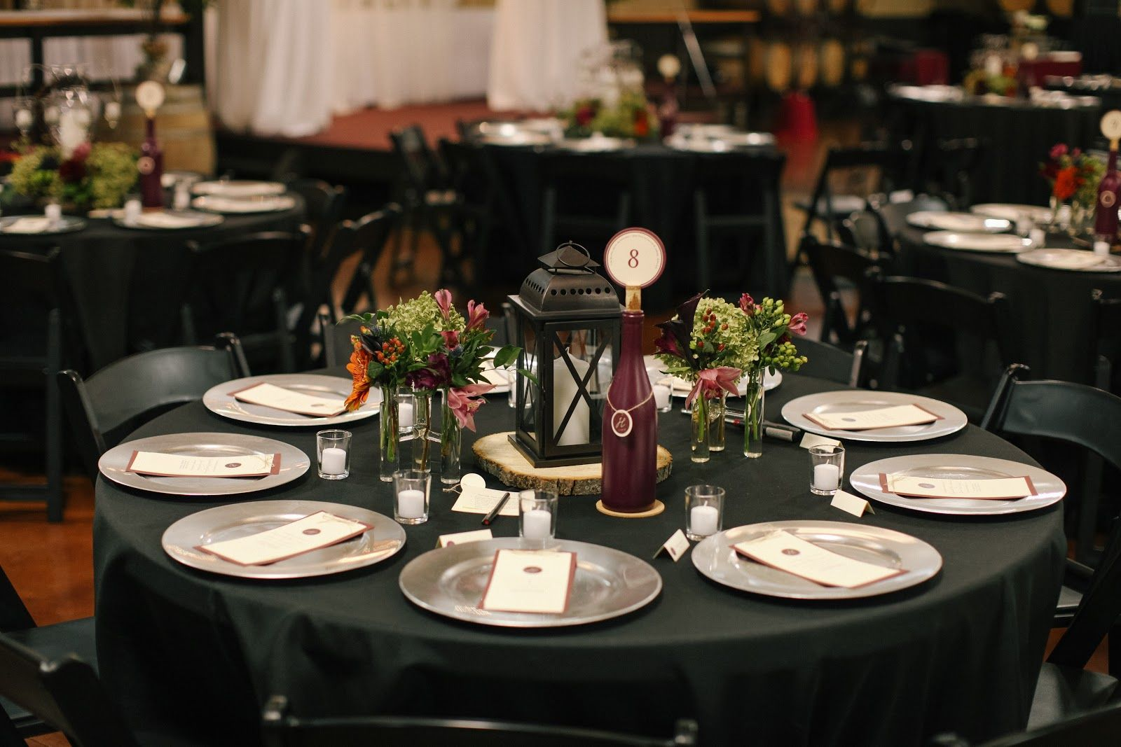 Wedding Decoration Attractive Dining Room Design With Round Tables Combine Black Table Also Flowers And Lantern Plus White Candle
