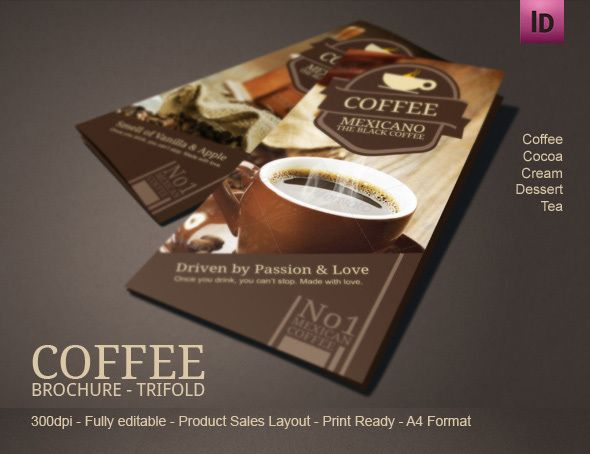 Coffee Tri Fold Brochure Template  Coffee Shop Brochures And Tri