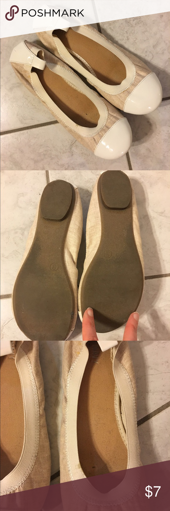 Old navy tan flats Size 9 old navy tan flats. Have elastic around the top of the foot. Has a spot on the elastic shown in the picture. In good used condition! Old Navy Shoes Flats & Loafers