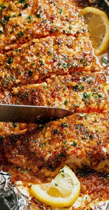 Photo of Baked honey-garlic salmon in foil – perfect, clean dinner #Fish …