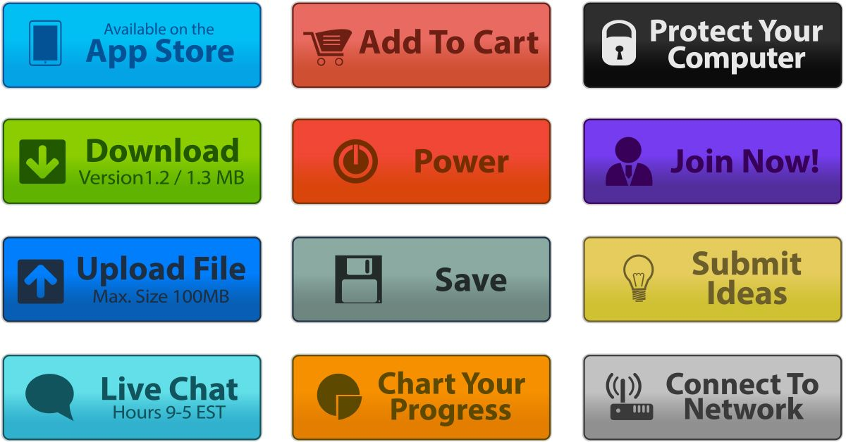 Colorful Icons Buttons Maxvectors Buttons And Icons In Ai Psd Svg And Png Formats Icon Social Media Icons Upload File