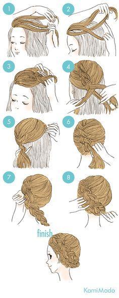 エレガンスな編込みアップのヘアアレンジ イラスト付き Peinados
