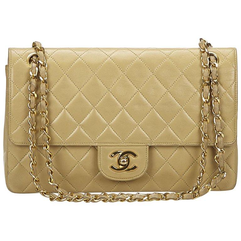 e3fcfc8570e04c Chanel Medium Lambskin Double Flap Bag Structured Shoulder Bag, Brown