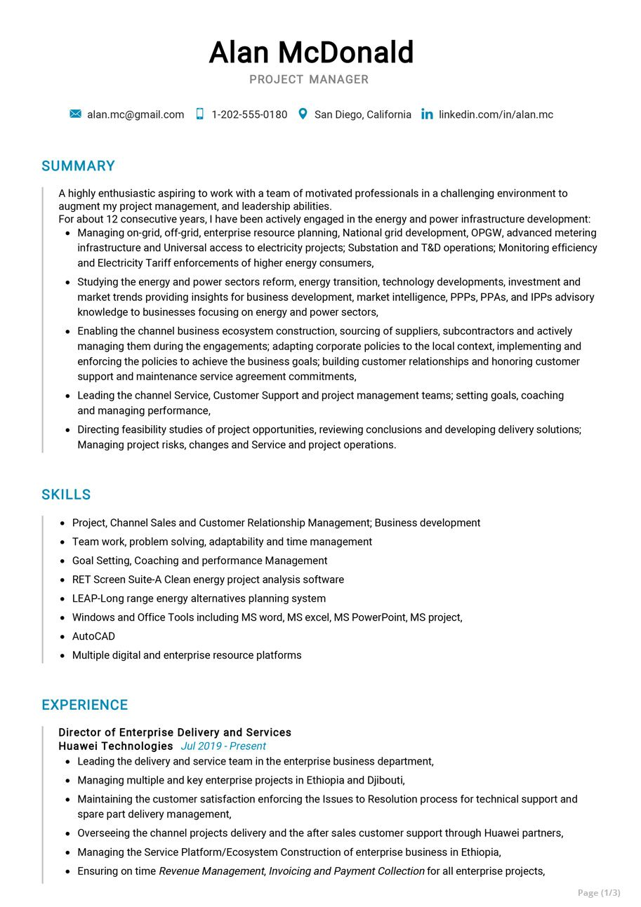 Senior Project Manager Resume Sample in 2020 Project