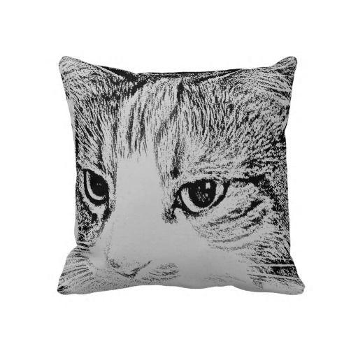 Cat Face Pet Art throw pillows