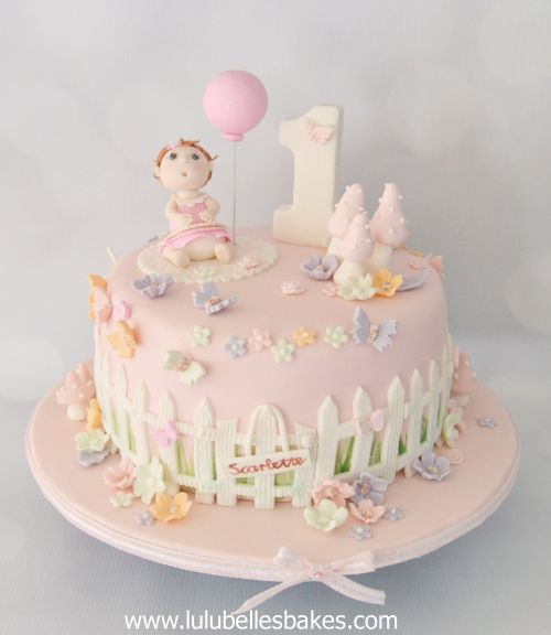 Baby Girl With Balloon 1st Birthday Cake Lulubelle S Bakes In 2018