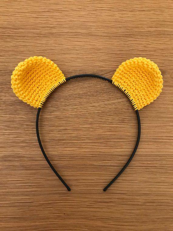 Winnie the pooh bear ears headband Halloween costume Crocheted Teddy Bear  ears. Perfect for Winnie the pooh birthday theme. Made of 100% cotton. 5816b63f6