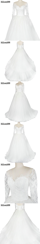 New arrival long sleeves tulle aline wedding dress scoop