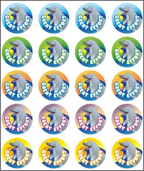 teacher stickers  Stickers Dolphin Great Effort. Teacher sticker pack. Contains 100 ...