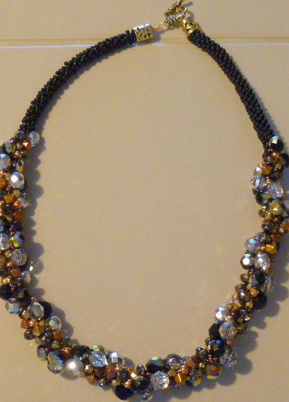 Beaded Kumihimo cluster necklace black gold