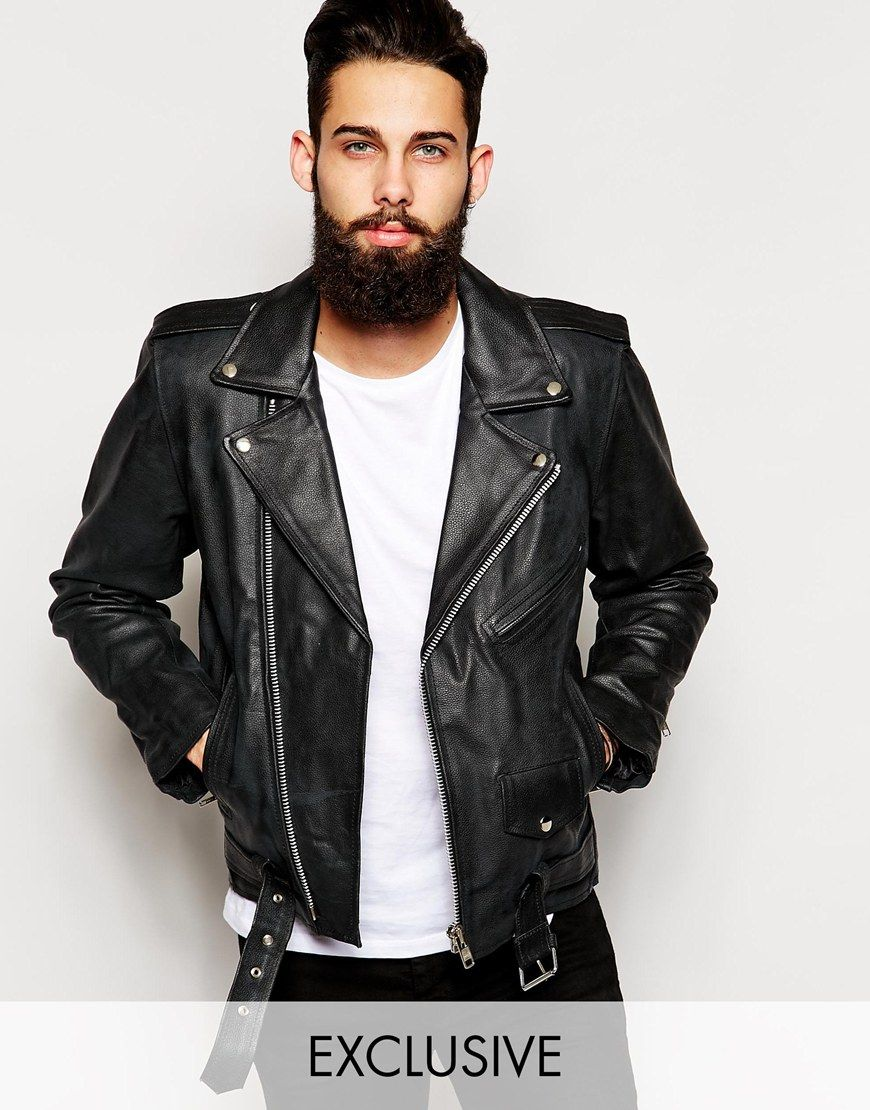 Image 1 of Reclaimed Vintage Leather Biker Jacket