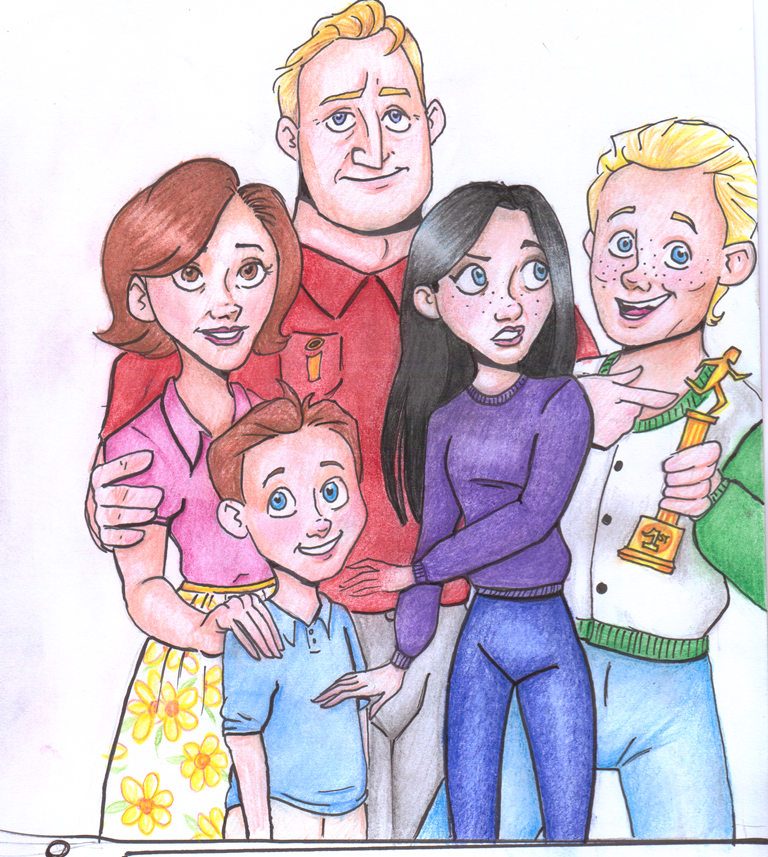 my predicted image of the parr family in the incredibles 2 from my tumblr thatpuddleismurky