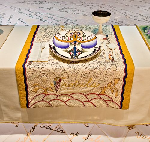 Judy Chicago (American, b. 1939). The Dinner Party (Trotula place setting), 1974–79. Mixed media: ceramic, porcelain, textile. Brooklyn Museum, Gift of the Elizabeth A. Sackler Foundation, 2002.10. © Judy Chicago. Photograph by Jook Leung Photography
