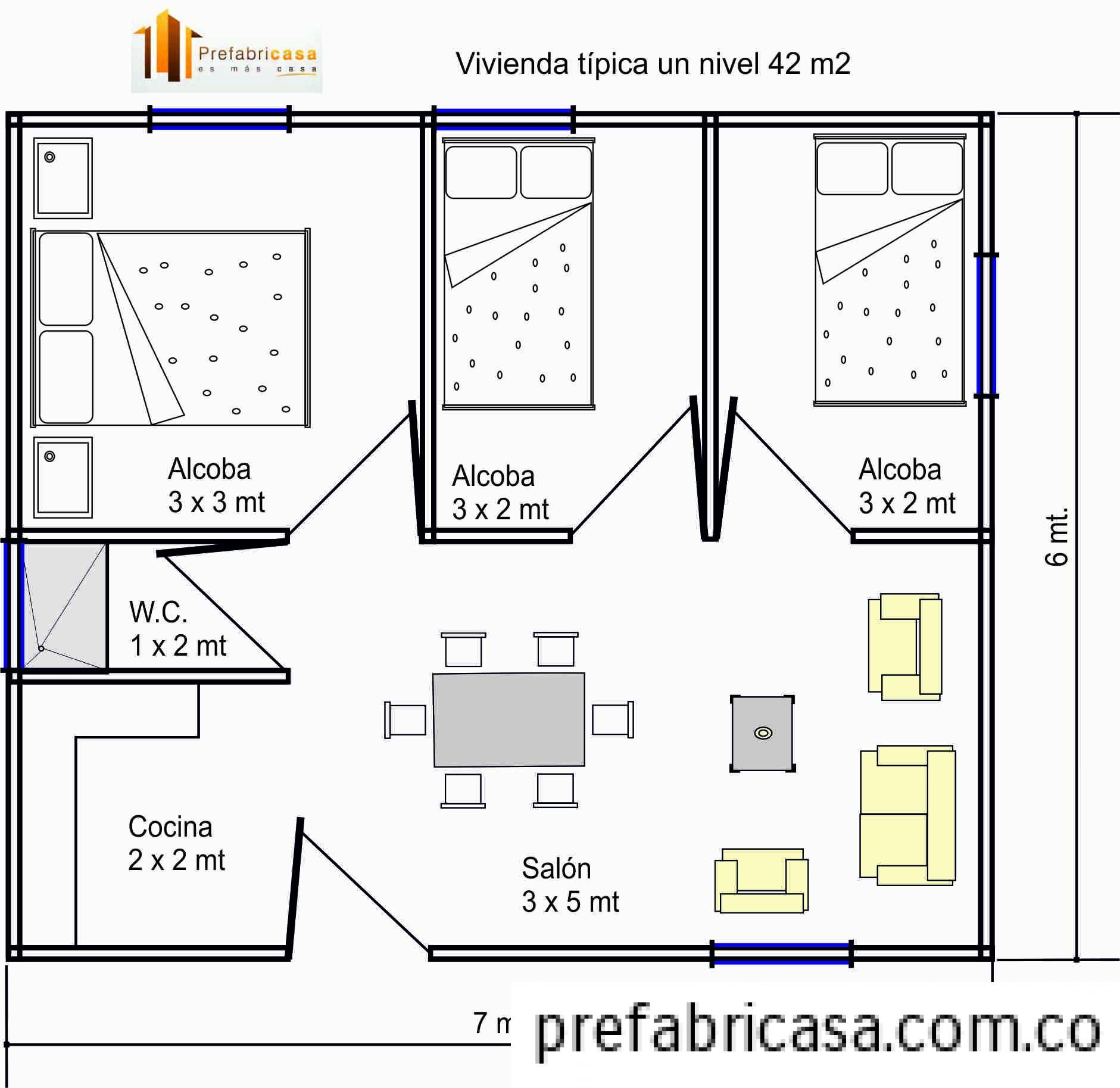 Resultado de imagen para alcobas peque as con ba o para for Disenos y planos de casas prefabricadas