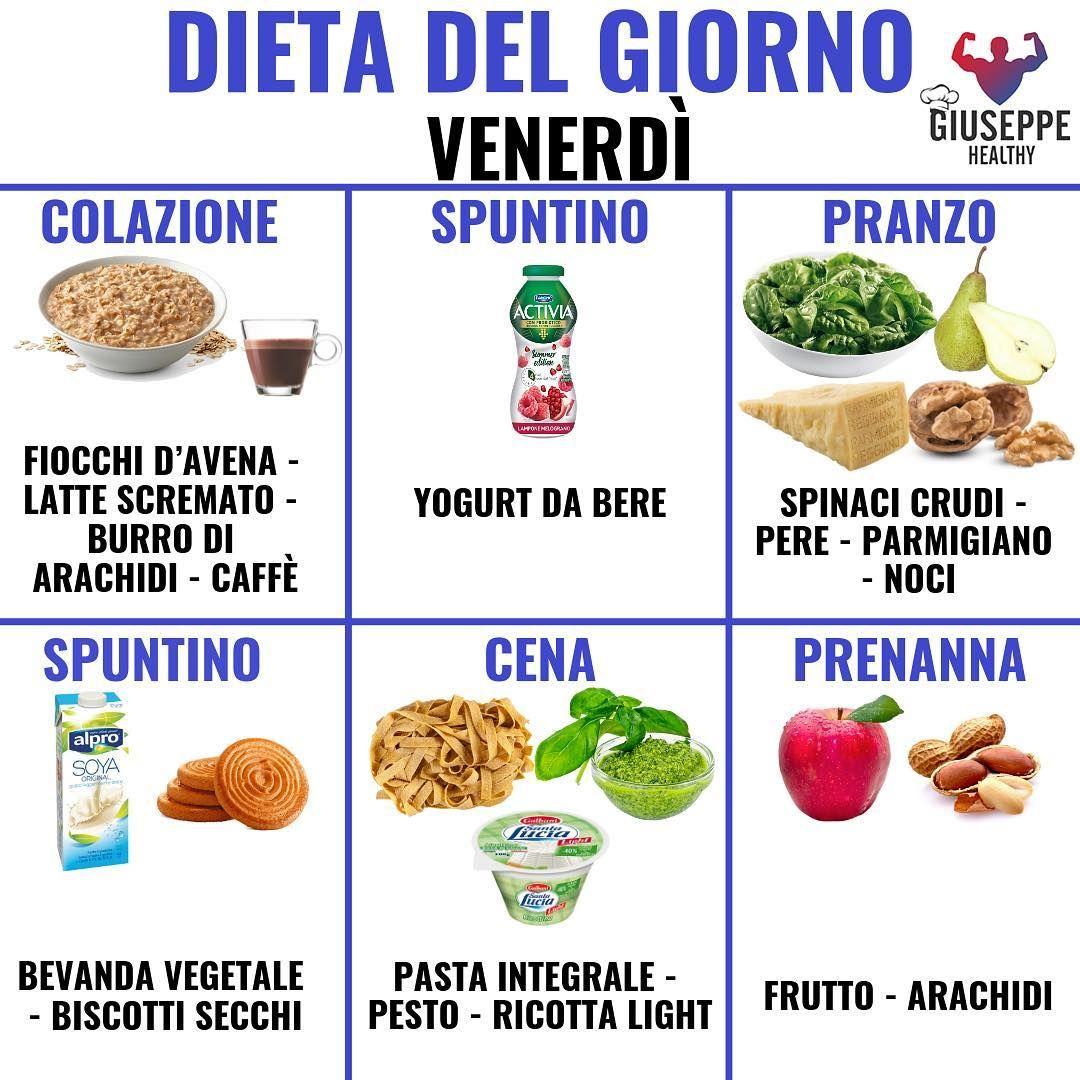 """Giuseppe Healthy on Instagram: """"DIETA DEL VENERDÌ 👆👆 . Eccoci con la dieta del giorno, colazione con un porridge di avena, latte scremato e burro di arachidi (basta…"""""""