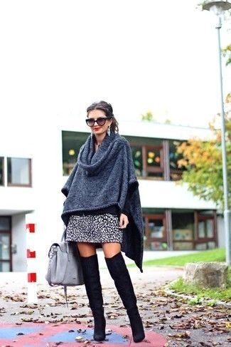 b18a936fef20 A charcoal poncho and a monochrome leopard mini skirt are a great outfit  formula to have in your arsenal. Why not introduce black suede over the knee  boots ...