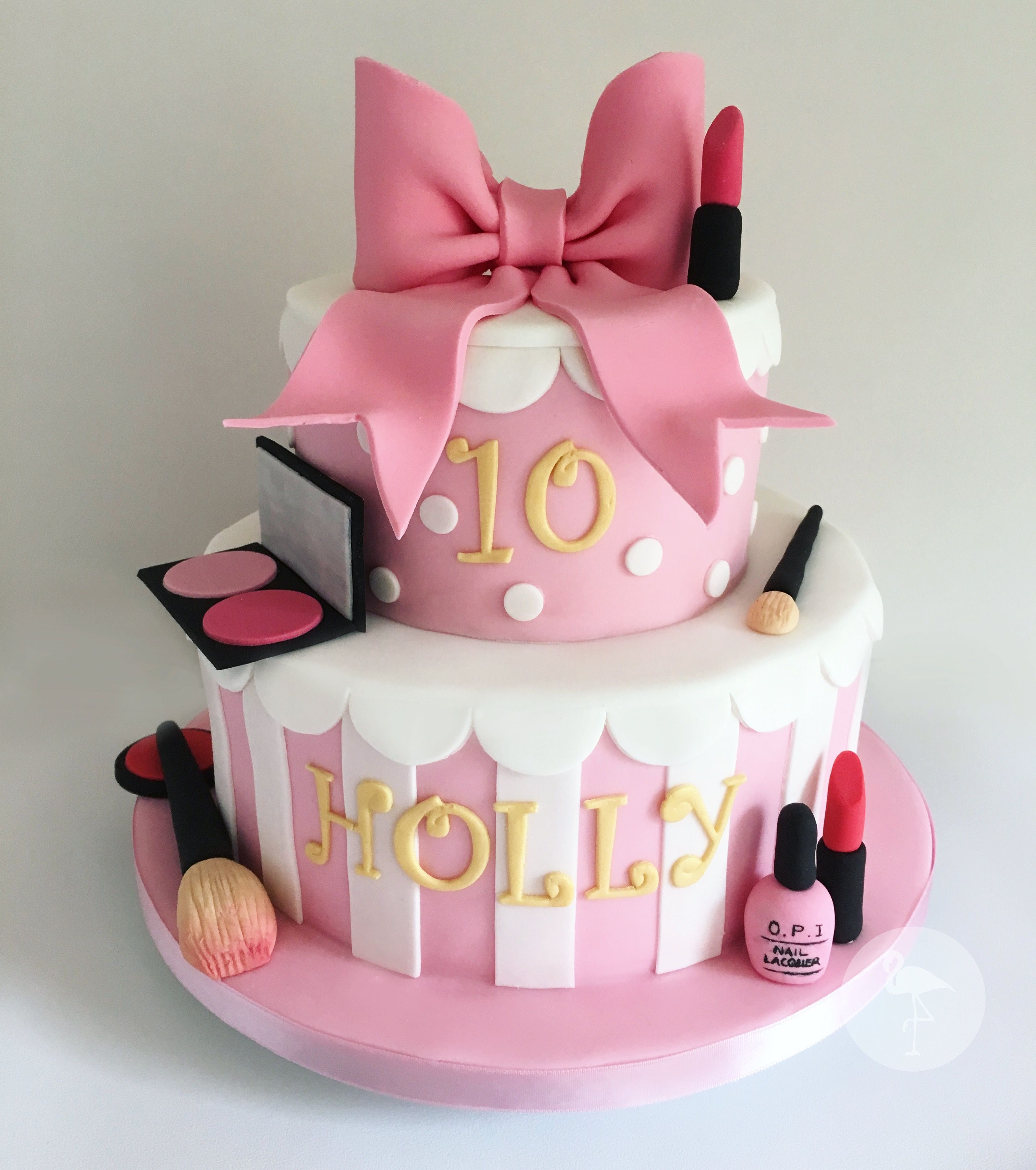 Girls Th Birthday Cake Makeup Beauty Bow Pink Our Occasion - 10th birthday cake