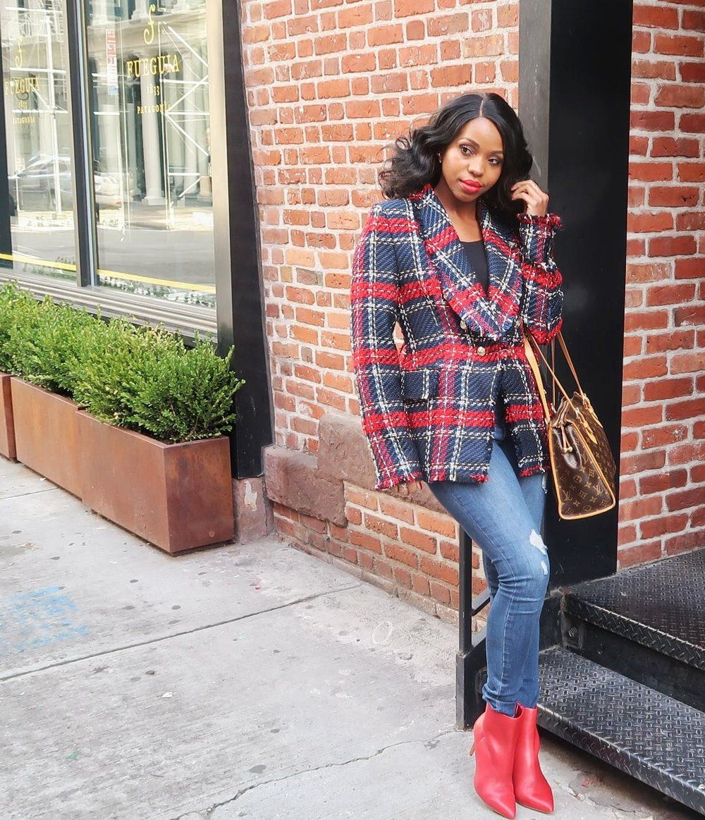 Power Dressing  The Red Plaid Jacket  df1780c1f