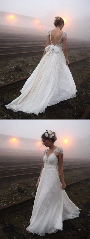 Sexy backless cap sleeve v neck aline chiffon beach wedding dresses