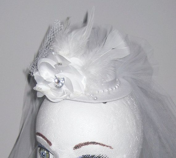 Wedding Mini Top Hat with Tulle Veil by DetailsandFairyTales, $45.00