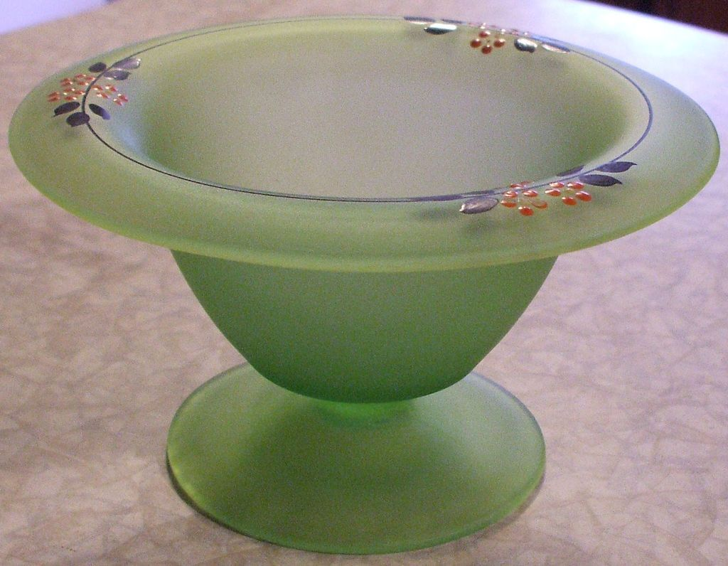Vintage art deco handpainted frosted green depression glass vintage art deco handpainted frosted green depression glass compote reviewsmspy