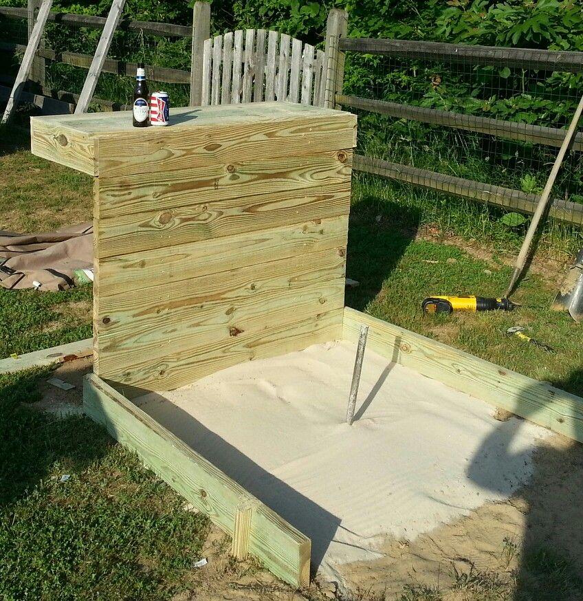 Horseshoe pits bar horseshoe pits pinterest for How to build a backyard house
