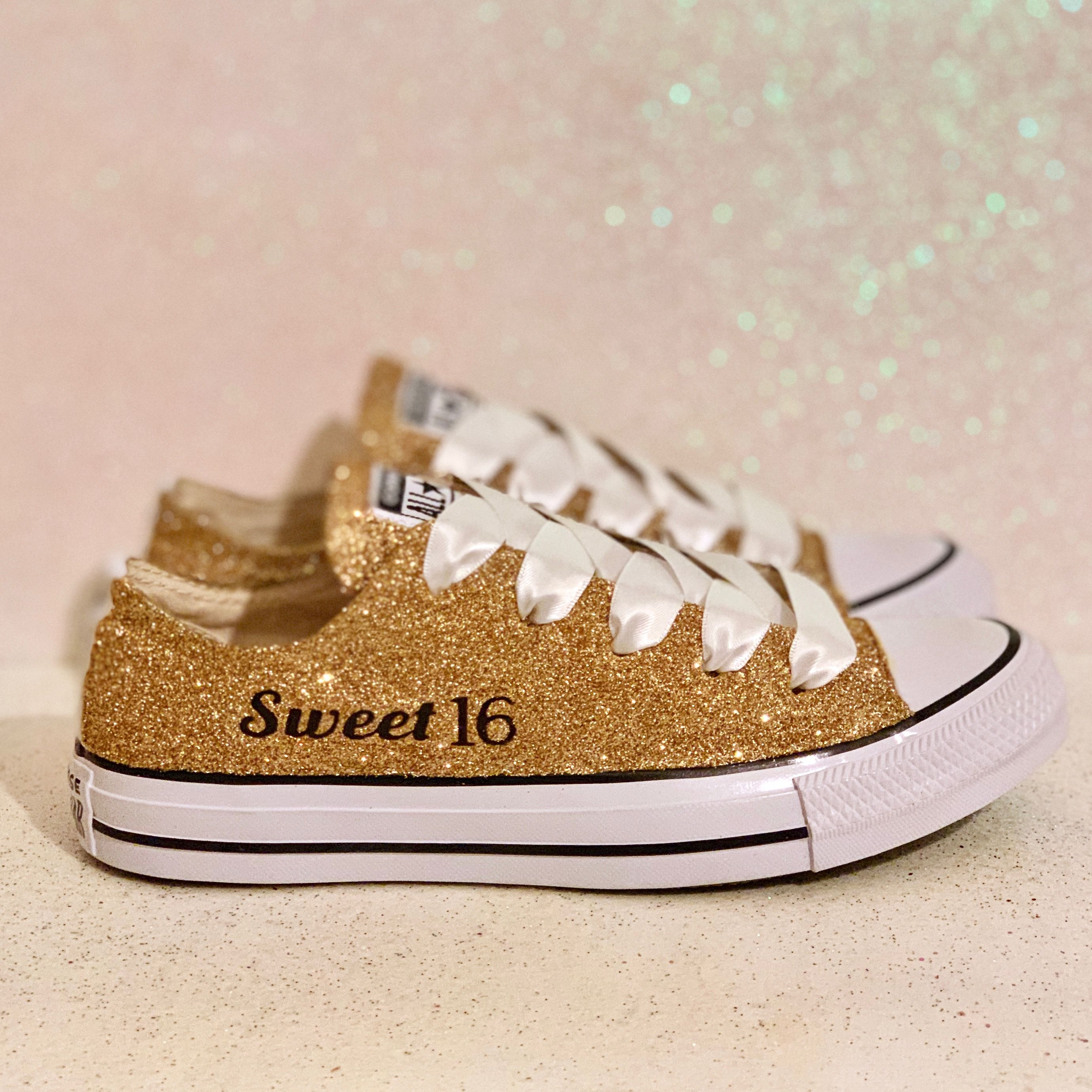 Women's Sparkly Converse All Star Low Sneakers Pale Gold