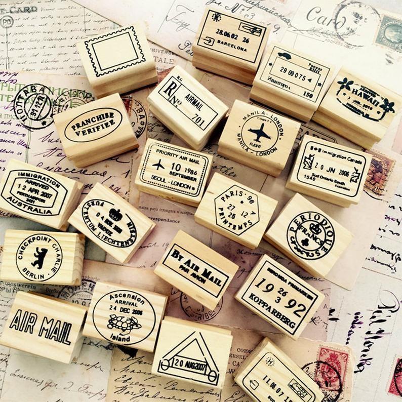 Set Of 6pcs Label Stamp Postmark Stamps Travel Stamps Etsy Wooden Stamps Travel Stamp Holiday Stamping