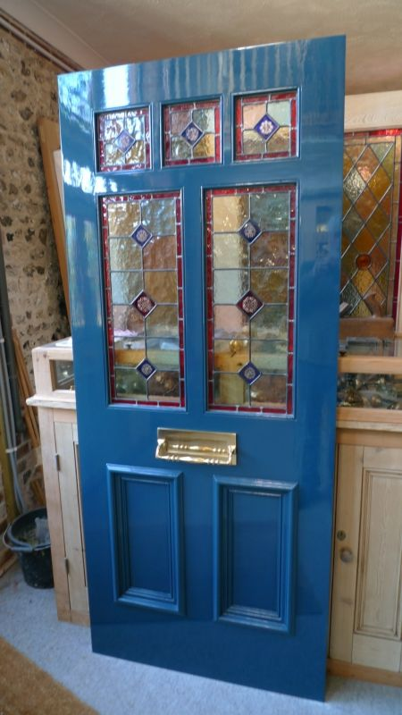 Beautiful blue Victorian style stained glass front door. | Doors ...
