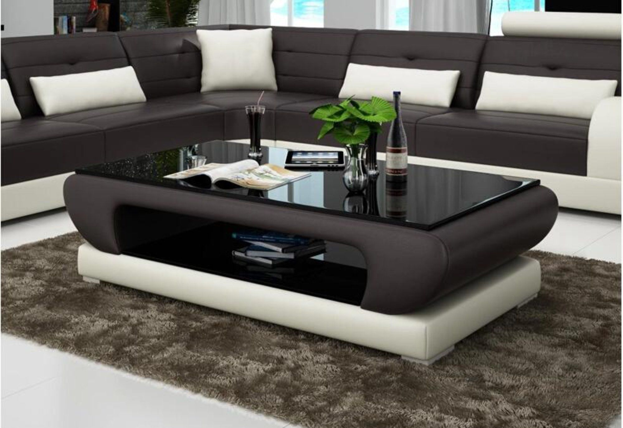 Contemporary Black And White Leather Coffee Table With Black Glass Living Room Sofa Design Sofa Table Design Leather Sofa Living Room [ 1374 x 2000 Pixel ]