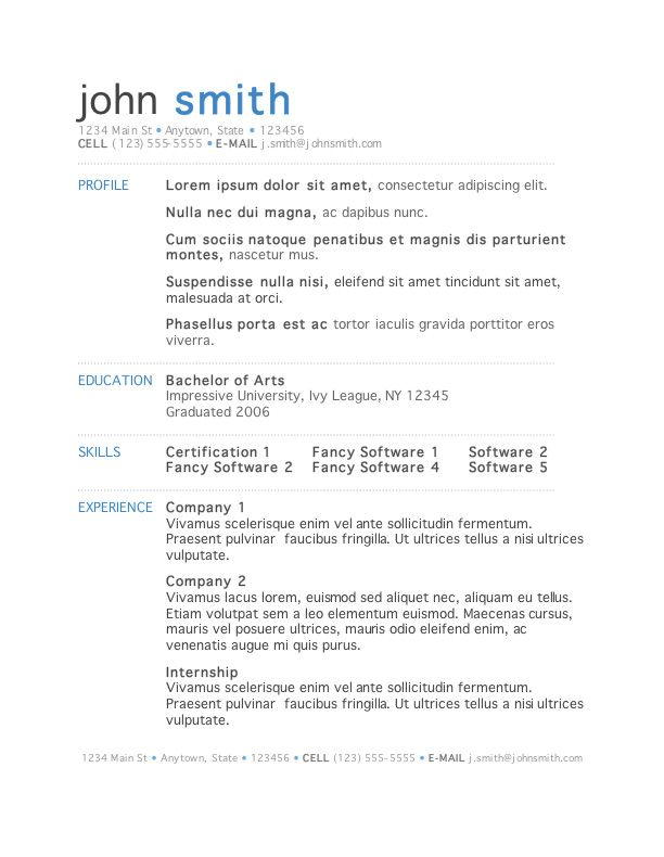 microsoft template for resume