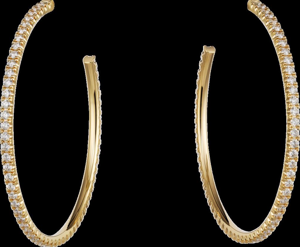 Etincelle De Cartier Earrings Etincelle De Cartier Hoop Earrings Large Model 18k Yellow Gold Cartier Earrings Diamond Hoop Earrings Large Classic Earrings