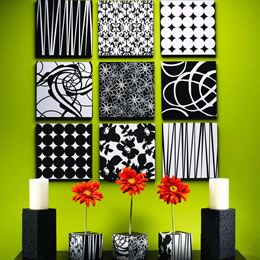 Love the black and white contrasting with the pops of colors....
