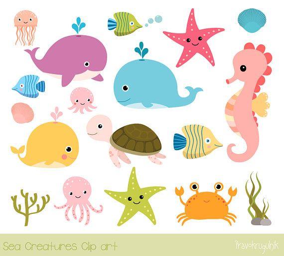 Sea Animal Clip Art Under The Sea Clipart Seahorse Whale Clip Art Turtle Ocean Animal Clipart Octopus Clipart Jellyfish Commercial Use Cartoon Sea Animals Animal Clipart Under The Sea Clipart
