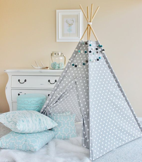 Polka Dot Indoor/Outdoor Fabric Play Tent Teepee by AshleyGabby : fabric play tent - memphite.com