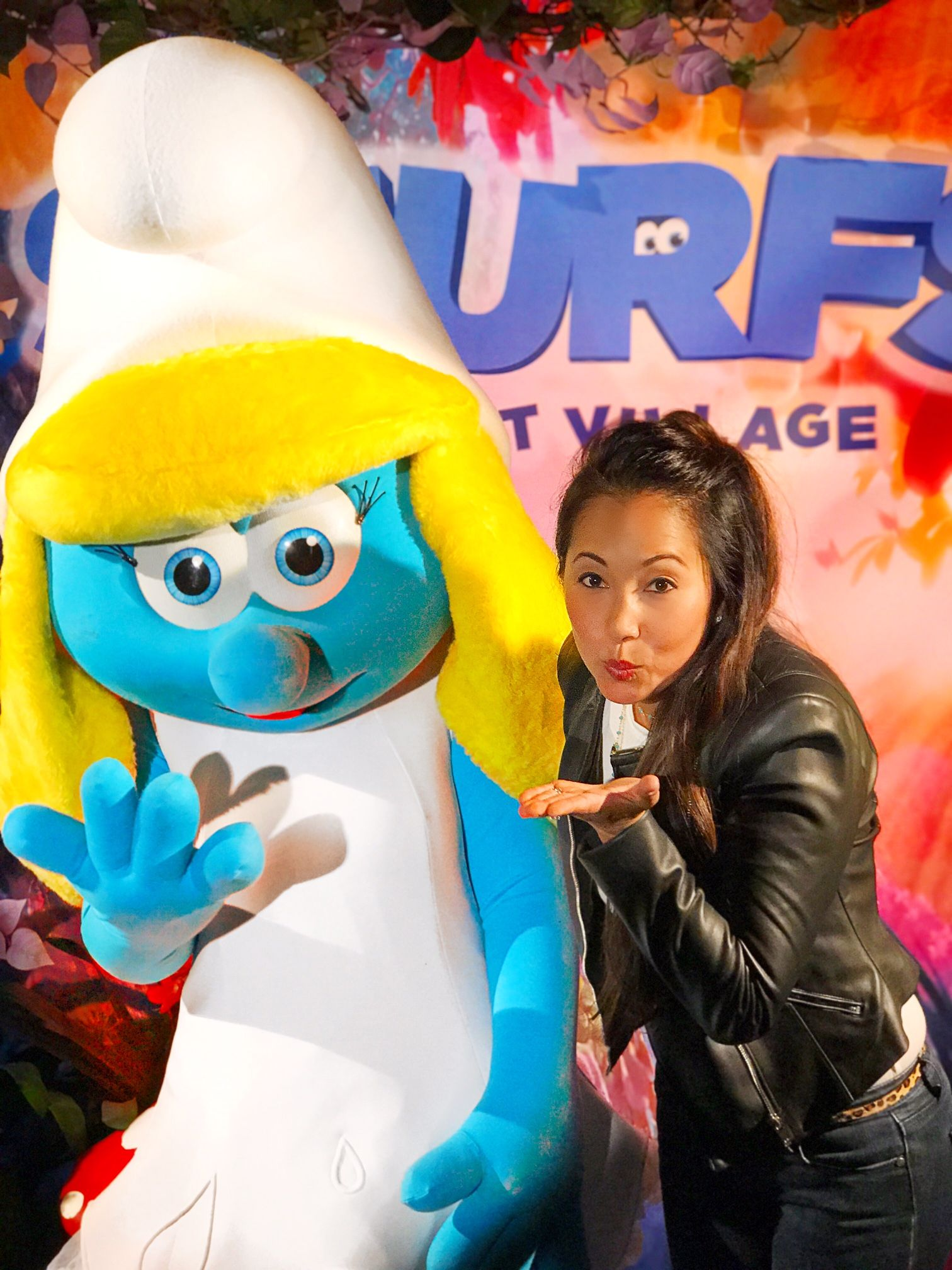 Saturday April 1st, my little family and I headed to the latest Sony Pictures movie Smurfs: The Lost Village for the world premiere in Downtown Culver City. Well Downtown Culver City was completely redone to look we walked right into a Smurf Village. As we checked in, we were given a selection of Smurfs hats …