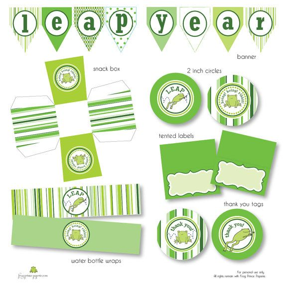 Leap Year Frog Printable Party by FrogPrincePaperie on Etsy, $7.50