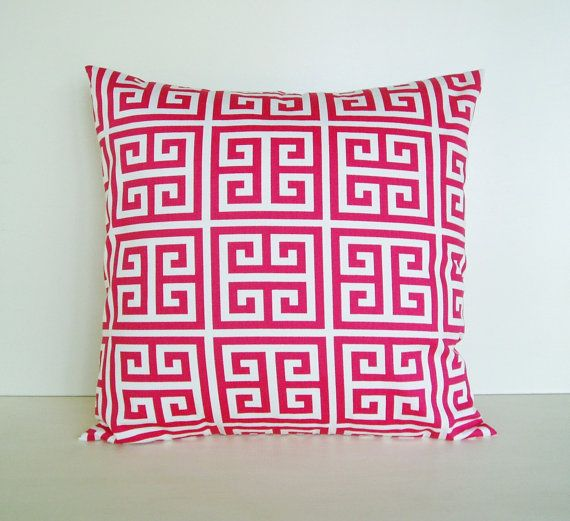 Pillow Cover Accent Sherbet Pink Towers Throw Decorative 16x16 Cotton. $15.00, via Etsy.