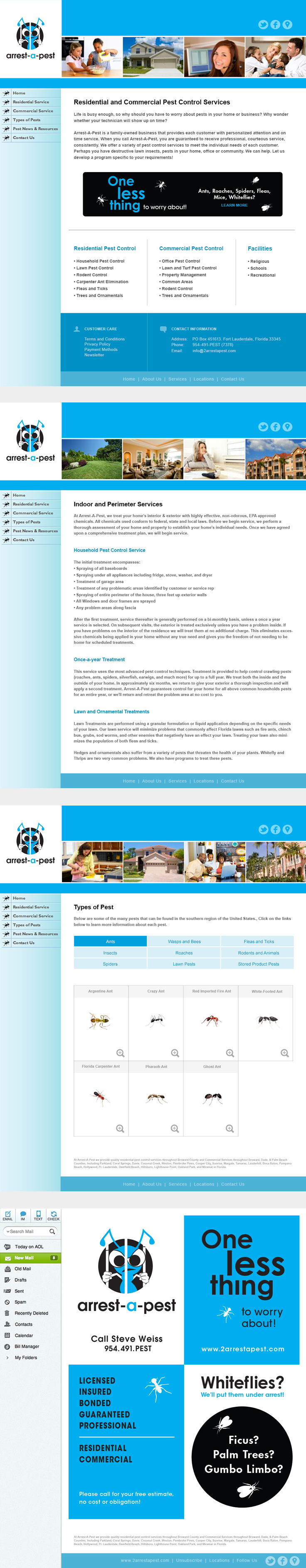 Website Redesign And Email Flier Concept For Arrest A Pest By Screamin Cow Design Studio Webdesign In Interactive Design Website Redesign Web Design Studio