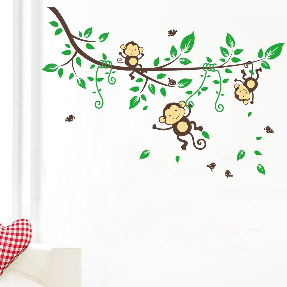 Three Monkey Climb On The Vine Wall Sticker For Kids Amazon
