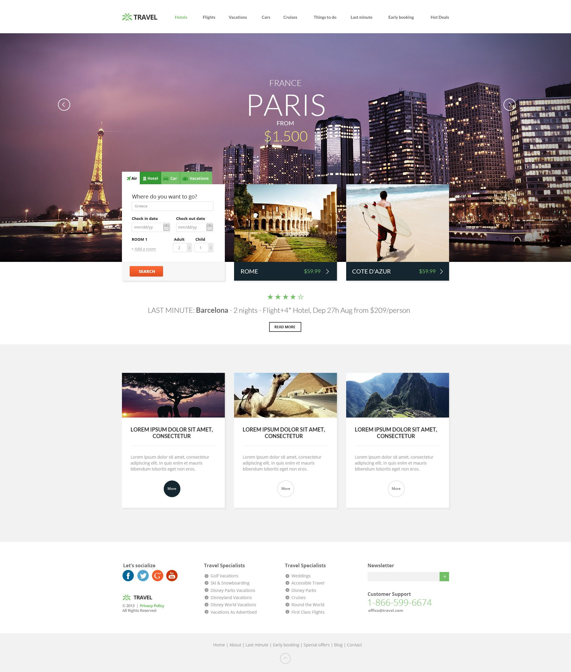 Travel Agency Multipurpose Booking Psd Template With Images