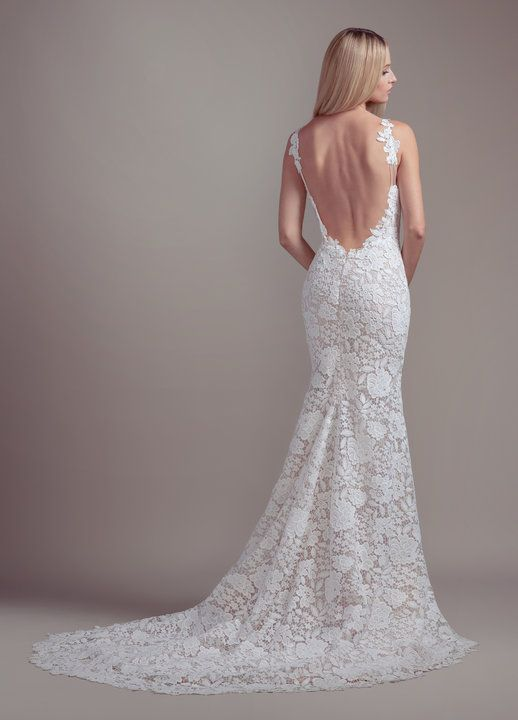 38bf55fa281c Style 1910 Atlas Blush by Hayley Paige bridal gown - Ivory guipure lace  sheath gown, scalloped V-neckline and low open back with strap and applique  detail, ...