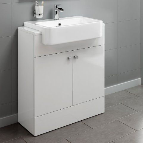 660mm Harper Gloss White Floor Standing Basin Vanity Unit Soak
