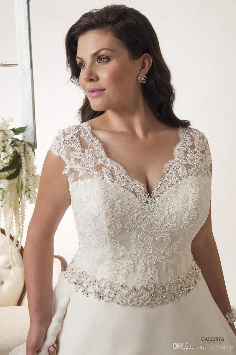 New Lace Appliqued Plus Size Wedding Dresses V Neckline A Line Organza Bridal Gowns Sweep Train Lace Up Wedding Dress With Beaded Sash